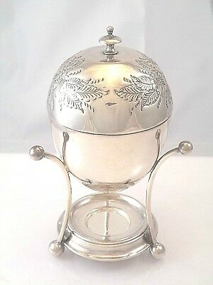 1858 English Silver Plated Egg Coddler Insert Chased Dome Cover Ball Feet
