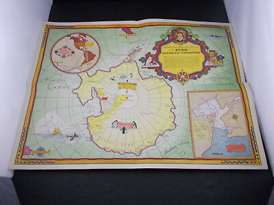 """X  GRAPE NUTS CEREAL MAILAWAY BYRD EXPEDITION MAP ANTARCTIC 1934 -vintage18X24"""""""