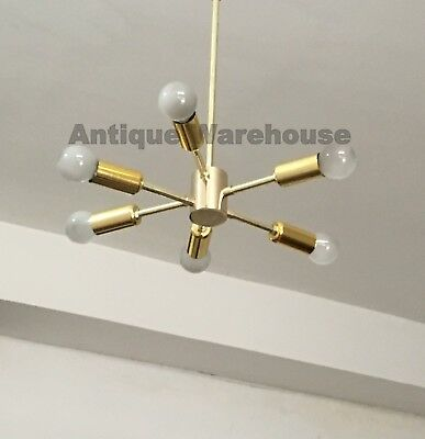 Handmade Solid Brass Mid Century Chandelier 6 Arms Ceiling Light Fixture Lamp