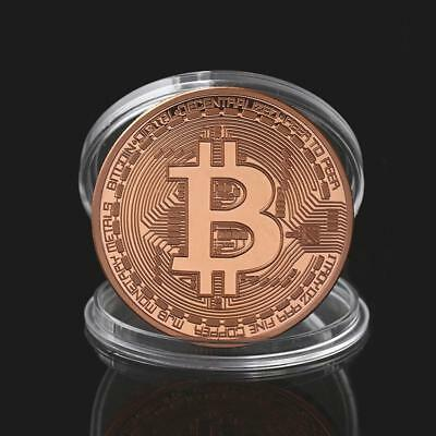 Gold Plated Physical Bitcoins BTC Collect Coin Gift Souvenir Decor Rose Gold