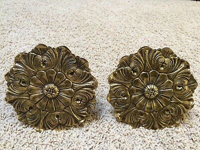 Vintage Pair of Brass Medallion Round Curtain/Drape Tie Backs  5 1/4""