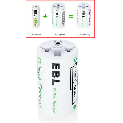 AA to D Size Battery Spacers for All AA Ni-MH/Ni-CD Rechargeable Batteries USA