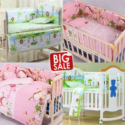 5PCS Baby Cotton Bedding Set Baby Kid Crib Bumper Safety Nursery Bedding Set BP