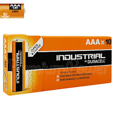 10 x Duracell AAA batteries Industrial Alkaline 1.5V LR03 MICRO MINI Pack of 10