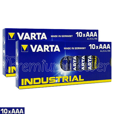 20 x Varta AAA batteries Alkaline Industrial LR03 MICRO MN2400 4003 Pack of 10