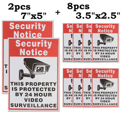 10pc 24 Hour CCTV Video Surveillance Security Camera Warning Sticker Decal Signs