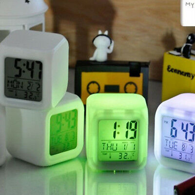 LED Change LCD Glowing Digital Alarm Date Time Thermometer Clock 7 Colors Supply