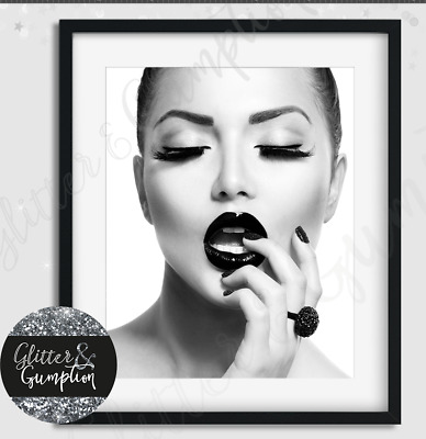 Fashion Wall Art, Fashion Print, Lips Poster, Black and white, Art Print, modern