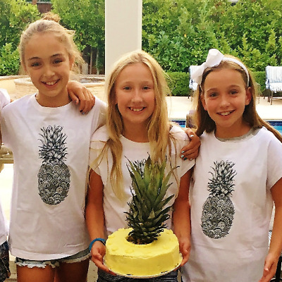 Pineapple T-Shirt, Fruit Tshirt, White Cotton Short Sleeve Tee for Girls, Fruity