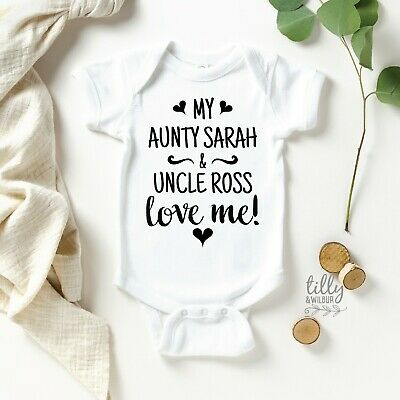 My Aunty And Uncle Love Me Baby Bodysuit For New Arrival Nieces And Nephews,