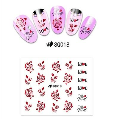 3d Nail Art Stickers Decals Transfers Valentines Red Rose Flowers