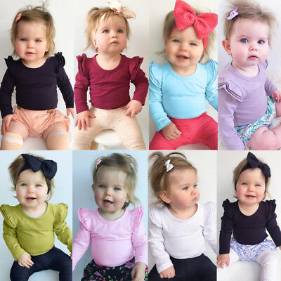 Newborn Toddler Baby Girls Summer Romper Bodysuit Long Sleeve Outfits Jumpsuit M