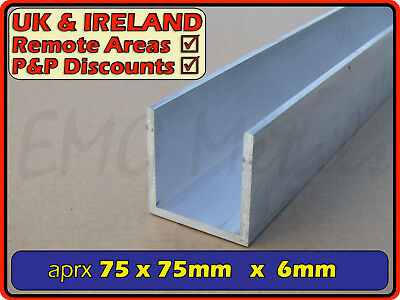 Aluminium Channel (C U section, gutter, profile,alloy)| 76x76 mm / 3x3 ""