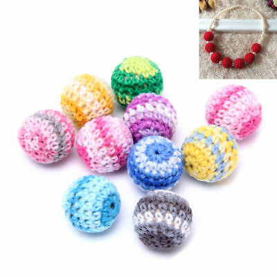 10pcs 20mm Wooden Crochet Round Beads For Baby Teething Jewelry Making Handmade