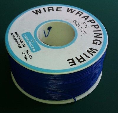 10 metros Cable AWG30 AZUL 30AWG para puentes, etc. WRAPPING WIRE BLUE B