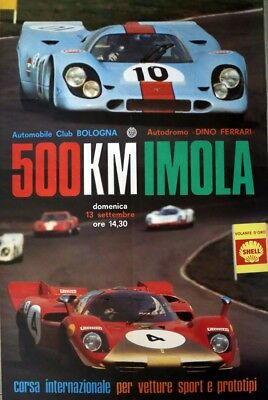 FERRARI Sunday 13 September 1970 Imola 500 Km original poster