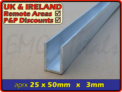 "Aluminium Channel (C U section, gutter, profile,edging,alloy) | 1"" x 2"""
