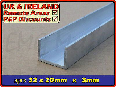 "Aluminium Channel (C U section, gutter, profile,edging,alloy) | 1.25"" x 0.75"""