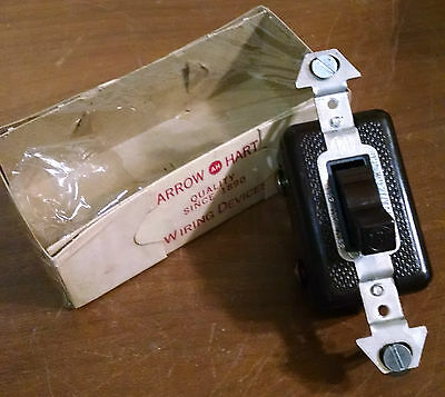 Vintage Arrow 3-Way Tumbler Toggle Wall Switch NOS brown 15A 120V light