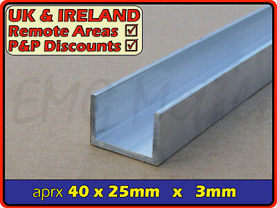 "Aluminium Channel (C U section, gutter, profile,edging,alloy) | 1.5"" x 1"""