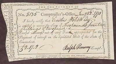 1790 STATE of CONNECTICUT - COMPTROLLER's OFFICE - INTEREST PAYMENT CERTIFICATE