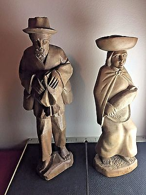 Vintage large Antique Hand Carved Wooden Figurines Woman & Man Pair