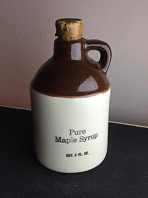 Vintage 8 ounce Maple Syrup jug stoneware Hand Crafted 22 k gold letters