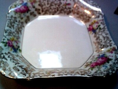 H & K Tunstall Vintage Serving Bowl Floral with Gold Made in England