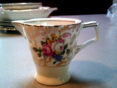 H & K Tunstall Vintage Creamer Floral with Gold Made in England