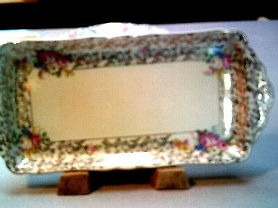 H & K Tunstall Vintage Serving Tray/Platter Floral with Gold Made in England