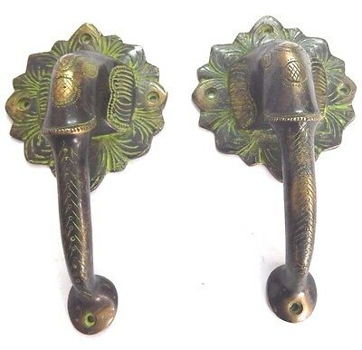 Elephant Shape Antique Vintage Finish Handmade Solid Brass Door Handle Pull Knob
