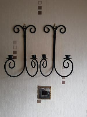 "2 X Black Wrought Iron Wall Candle Holder Indoor Or Outdoor Decoration 14"" Used"