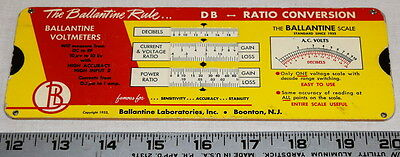 Vintage Ballantine Cardboard Slide Rule, Converts Decibels to Power & Millivolts