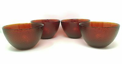 Set of 4 Soft Textured Ruby Red Frosted Glass Cereal Bowls Dessert Dishware
