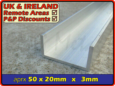"Aluminium Channel (C U section, gutter, profile,edging,alloy) | 2"" x 3/4"""