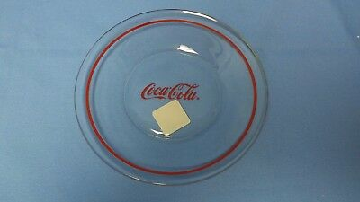 "Anchor Hocking Coca~Cola COKE 8"" Salad Luncheon Plate Clear Glass with Red Band"
