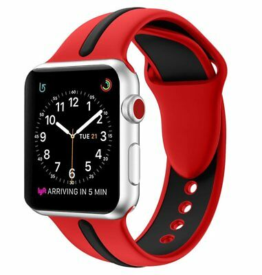 42mm Apple Watch Band Sport Replacement Strap Stripe For Series 3/2/1 Red/Black
