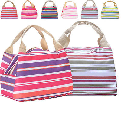 Fashion Stripes SchooI Office Lunch Bag Lunchbox Kids Adult Insulated Cooler Bag
