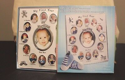 My First Year Baby Photo Picture Collage Frame 12 Months New In Box- Silver
