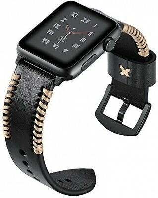 For 42mm Apple Watch Band Single Tour iWatch Genuine Leather Band Strap Black