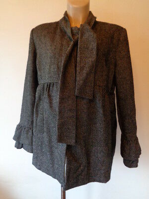 Red Herring Maternity Stylish Black Check Tie Swing Mac Jacket Coat Size 16
