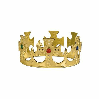 Beistle 60250-GD 12-Pack Gold Plastic Jeweled King's Crown
