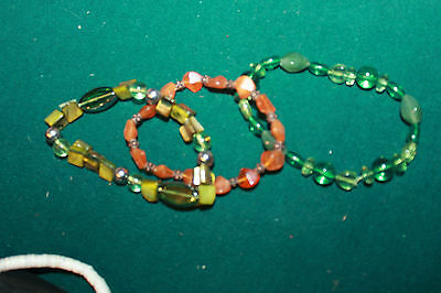 lot of 3 Beaded Bracelets,, green and orange - nice single strands