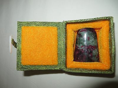 Chinese Asian Ruby In Zoisite Stone Seal Incised Calligraphy Stamp In Fabric Box