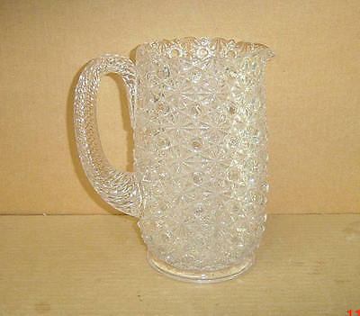 Eapg Crystal Daisy & Button 2 Qt Pitcher With Air Twist Applied Handle 1880's