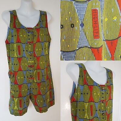 "Vintage ""HighLife"" Jumpsuit~ Size 10~One Piece Romper~ Abstract 80s Print~ EUC"