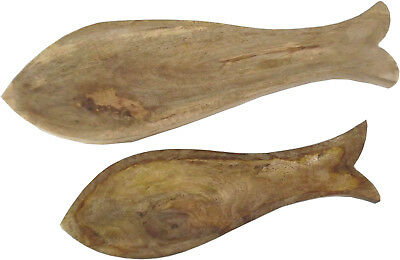 Set Of 2 Pair Fish Shaped Carved Wooden Serving Trays  Plates Small & Large