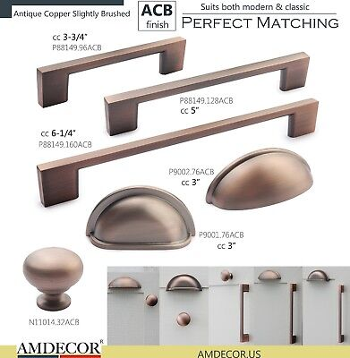 Amdecor Vintage Antique Copper brushed ACB Cabinet Pull Cup Handle knob Hardware