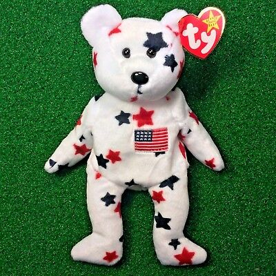 1997 Ty Beanie Baby GLORY The Bear NEW Retired U.S.A. Theme Plush Toy - MWMT