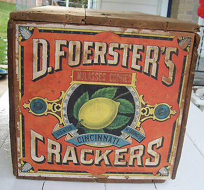 Antique Wooden Crate Box~Crackers~Biscuits~Hinged Lid~Paper Label~Cincinnati, OH
